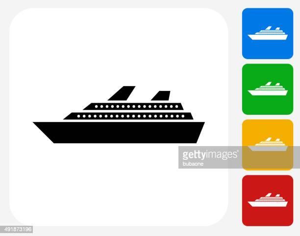 Cruise Ship Icon Flat Graphic Design