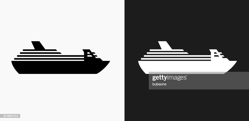 Cruise ship Icon on Black and White Vector Backgrounds : stock illustration