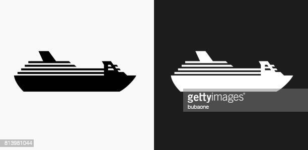 Cruise ship Icon on Black and White Vector Backgrounds