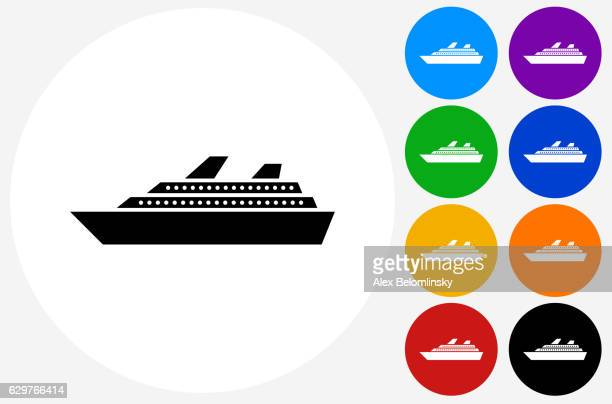 Cruise Ship Icon on Flat Color Circle Buttons