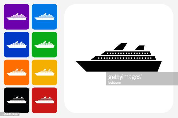 Cruise Ship Icon Square Button Set