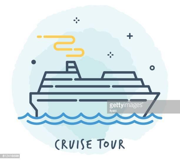Cruise Ship Line Icon