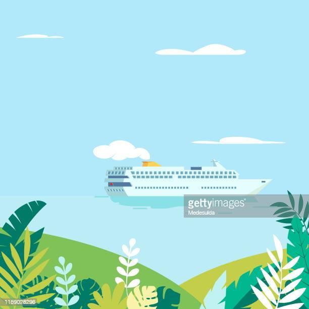 kreuzfahrtschiff vorbei an tropischen inseln - bedeckter himmel stock-grafiken, -clipart, -cartoons und -symbole