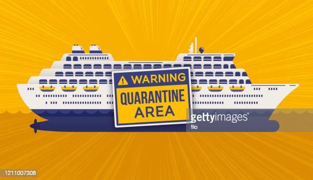 ilustraciones, imágenes clip art, dibujos animados e iconos de stock de cuarentena de cruceros - cuarentena