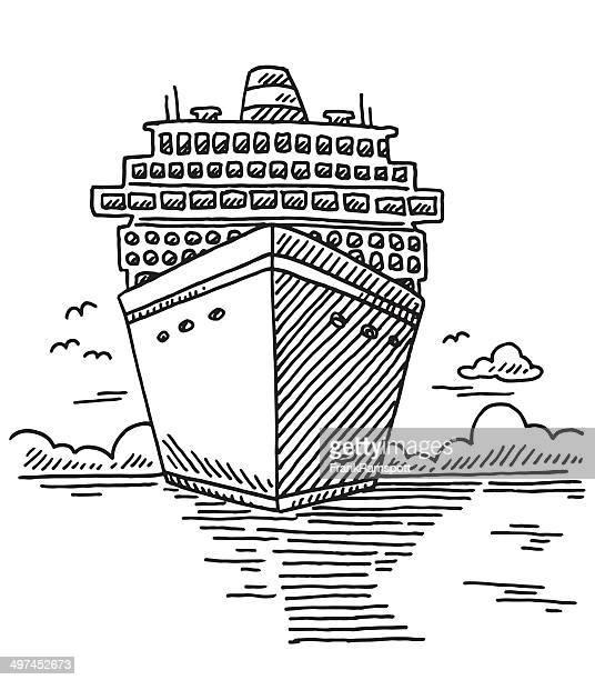 Cruise Ship Sea Vacation Drawing