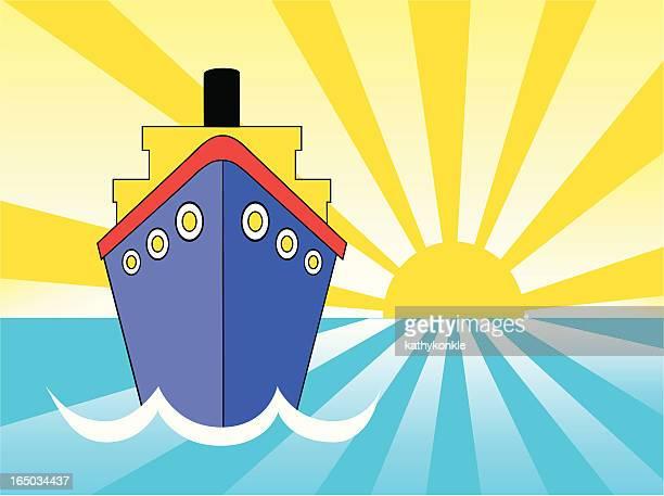 サンセットクルーズ船 - 遠洋定期船点のイラスト素材/クリップアート素材/マンガ素材/アイコン素材