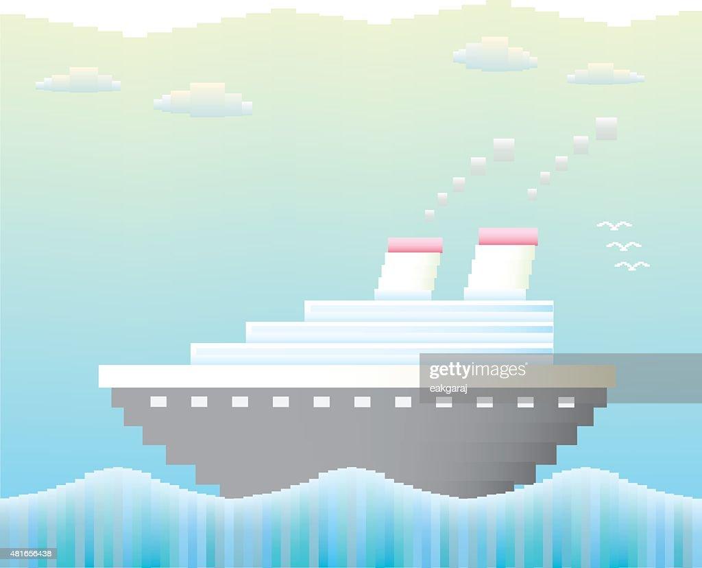 Cruise ship . Vector pixel