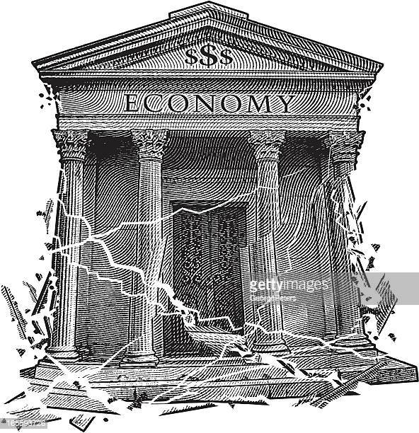 crumbling economy - bailout stock illustrations