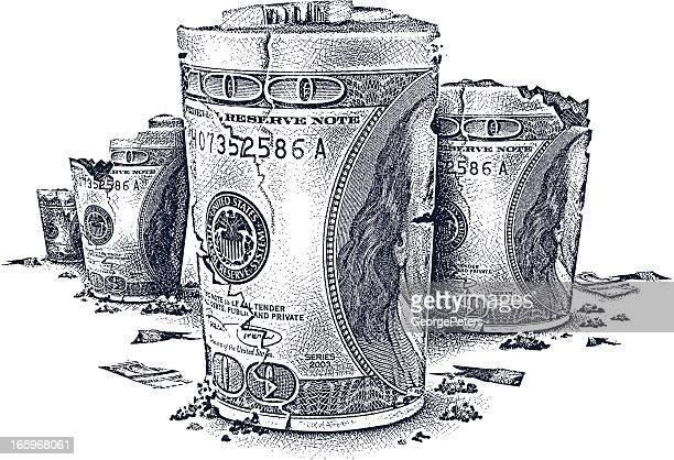 ilustraciones, imágenes clip art, dibujos animados e iconos de stock de desmoronándose dinero paisaje - fajo de billetes
