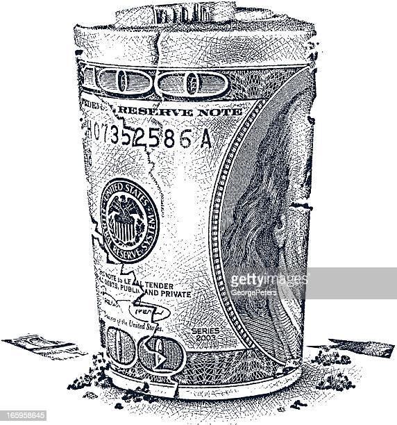 ilustraciones, imágenes clip art, dibujos animados e iconos de stock de desmoronándose fajo de billetes - fajo de billetes