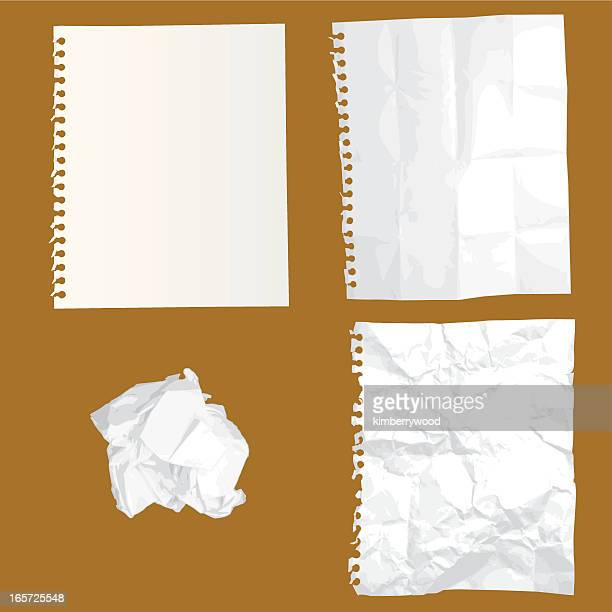 crumpled paper in vector - crumpled stock illustrations