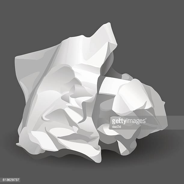 crumpled white paper - crumpled stock illustrations