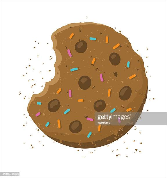 crunch cookie - illustration - cookie stock illustrations, clip art, cartoons, & icons