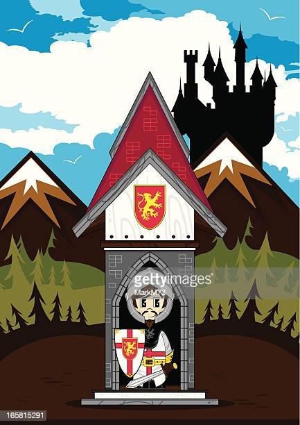 Crusader Knight in Mini Turret Castle Scene