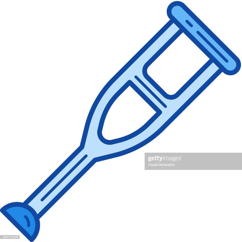 Crutch line icon