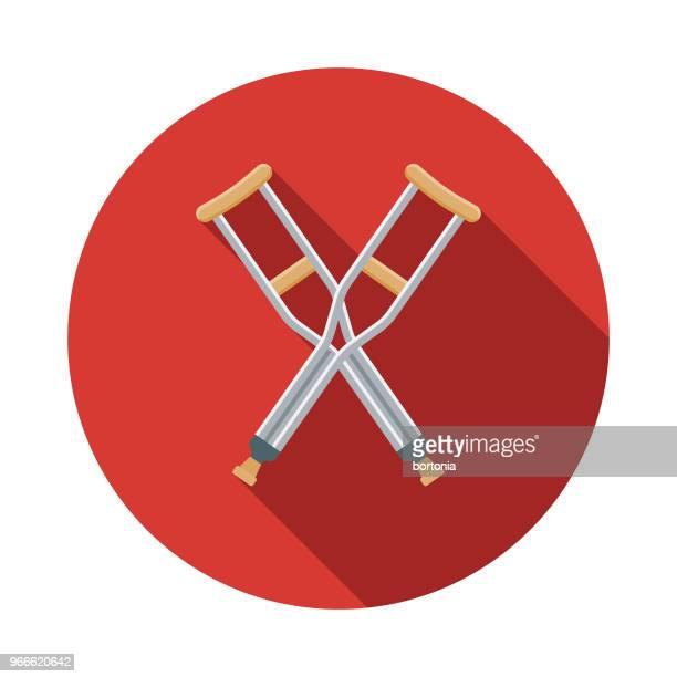 Icono de servicios de emergencia de diseño plano de muletas