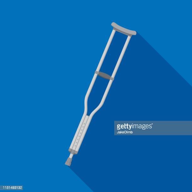 Crutches Icon Flat