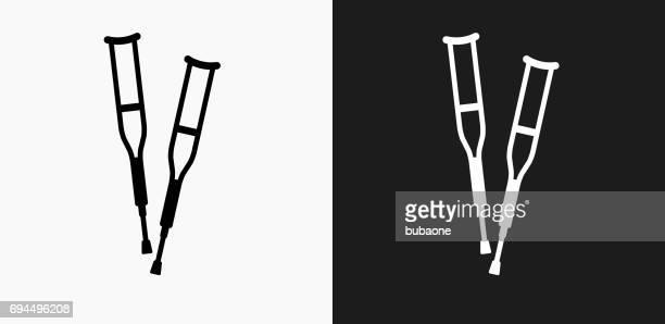 Muletas de icono en blanco y negro Vector fondos