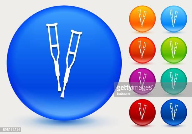 Icono de muletas en círculo brillante Color botones