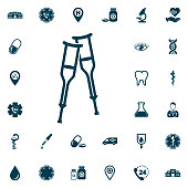 Crutches icon vector, medical set on white background. Health Care Vector illustration