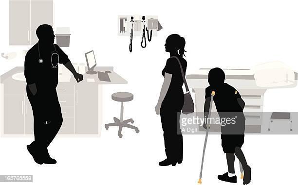 Crutches Vector Silhouette