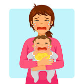 crying baby and crying mom