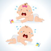 Crying baby crawling