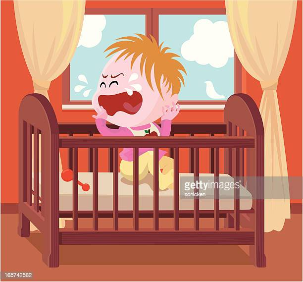 crying baby in crib