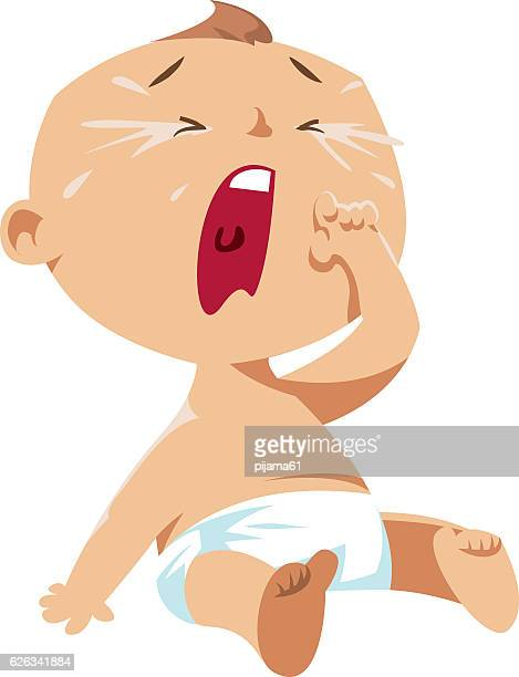 crying baby - crying stock illustrations, clip art, cartoons, & icons