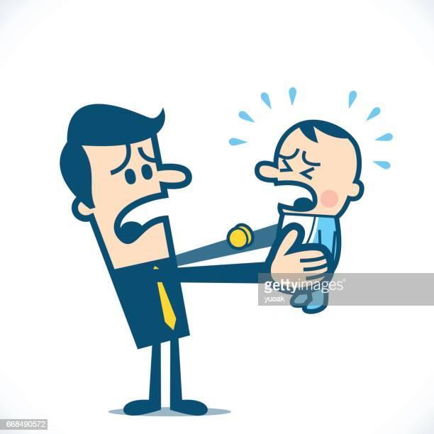 ilustraciones, imágenes clip art, dibujos animados e iconos de stock de llorar bebé - hombre llorando