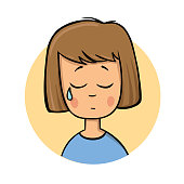 Crying cartoon girl. Flat design icon. Colorful flat vector illustration. Isolated on white background.