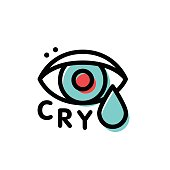 Crying hipster eye vector logo template in stroke line style