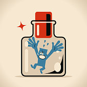 Crying man in confined space glass bottle with cork