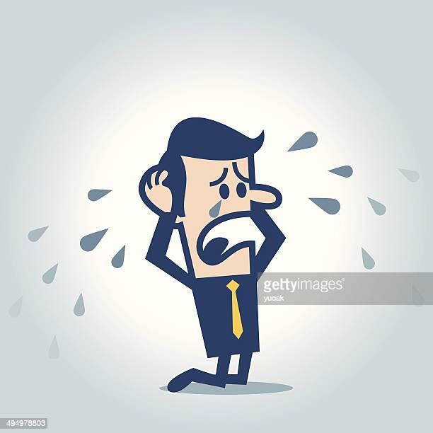 ilustraciones, imágenes clip art, dibujos animados e iconos de stock de hombre llorando - hombre llorando