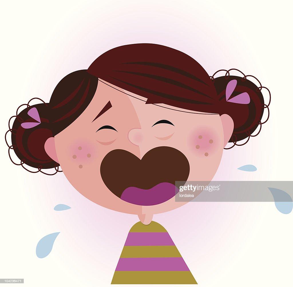 Crying small baby girl