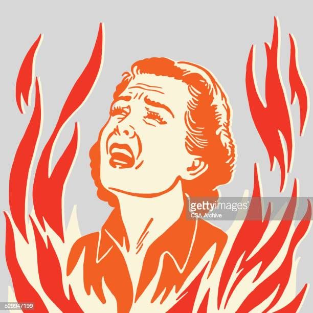 crying woman in flames - female torture stock illustrations