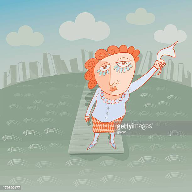 crying woman saying goodbye, adieu, auf wiedersehen, adios - relationship difficulties stock illustrations