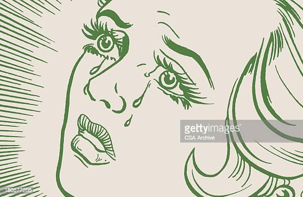 crying woman - teardrop stock illustrations