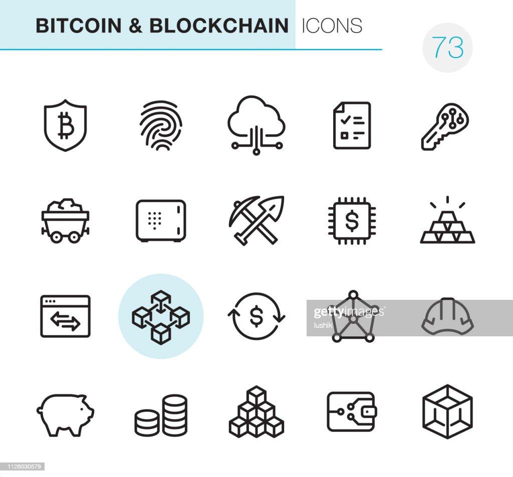 暗号と Blockchain - ピクセル完璧なアイコン : ストックイラストレーション