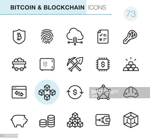 crypto and blockchain - pixel perfect icons - cryptocurrency stock illustrations