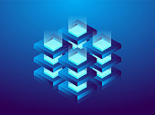 Cryptocurrency and blockchain, abstract isometric 3D illustration. Cryptocurrency mining farm, vector technology background.