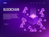 Cryptocurrency and Blockchain concept. Farm for mining bitcoins