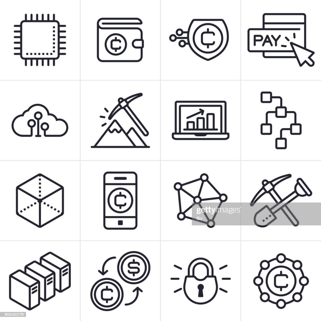 Cryptocurrency And Blockchain Icons And Symbols Vector Art Getty