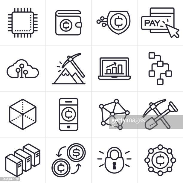 cryptocurrency and blockchain icons and symbols - cryptocurrency mining stock illustrations