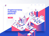 Cryptocurrency and blockchain isometric composition with people, analysts and managers working on crypto start up. Landing page template. Vector isometric illustration.