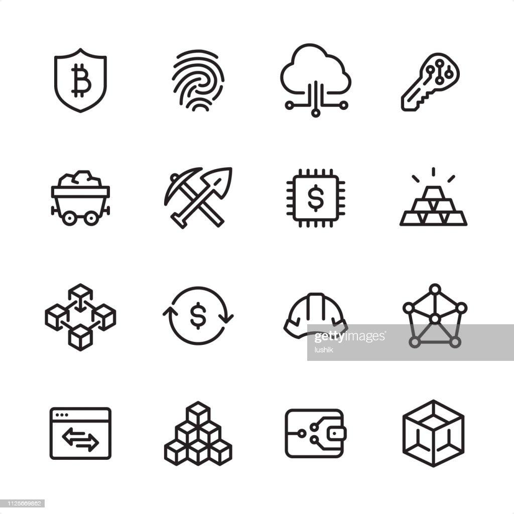 Cryptocurrency と Blockchain - アウトラインのアイコンを設定 : ストックイラストレーション