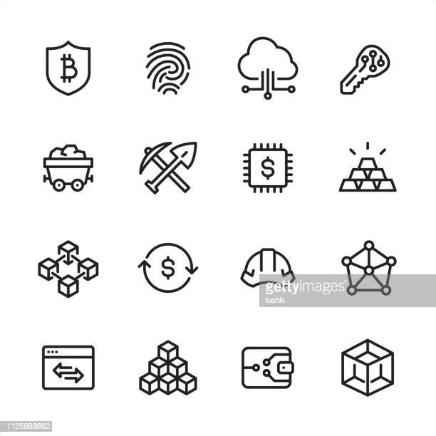 cryptocurrency and blockchain - outline icon set - cryptocurrency mining stock illustrations