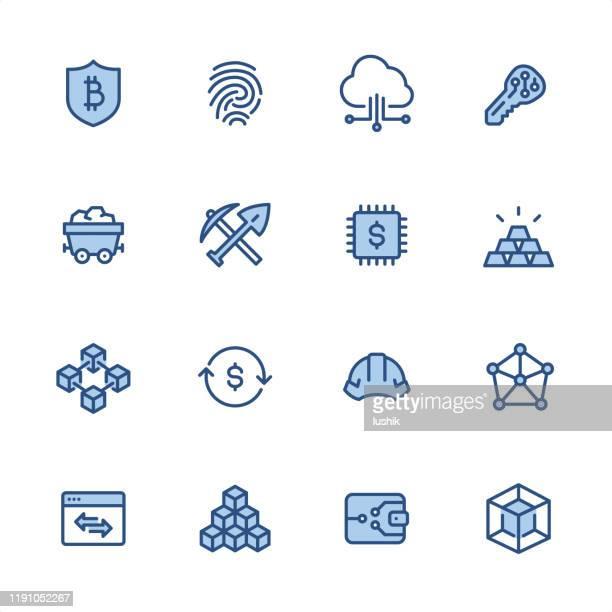 暗号通貨とブロックチェーン - ピクセルパーフェクトブルーのアウトラインアイコン - 仮想通貨マイニング点のイラスト素材/クリップアート素材/マンガ素材/アイコン素材