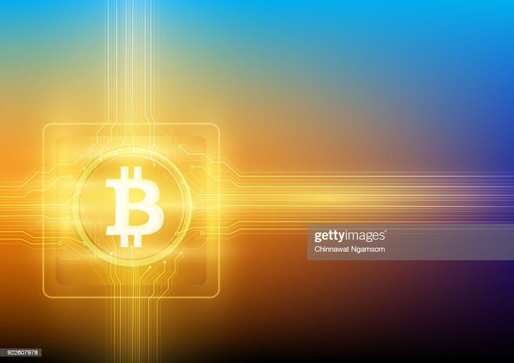 A cryptocurrency bitcoin with the golden lightening circuit design on microchip.