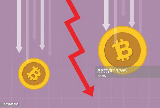 cryptocurrency coin and red arrow going down - stock market crash stock illustrations